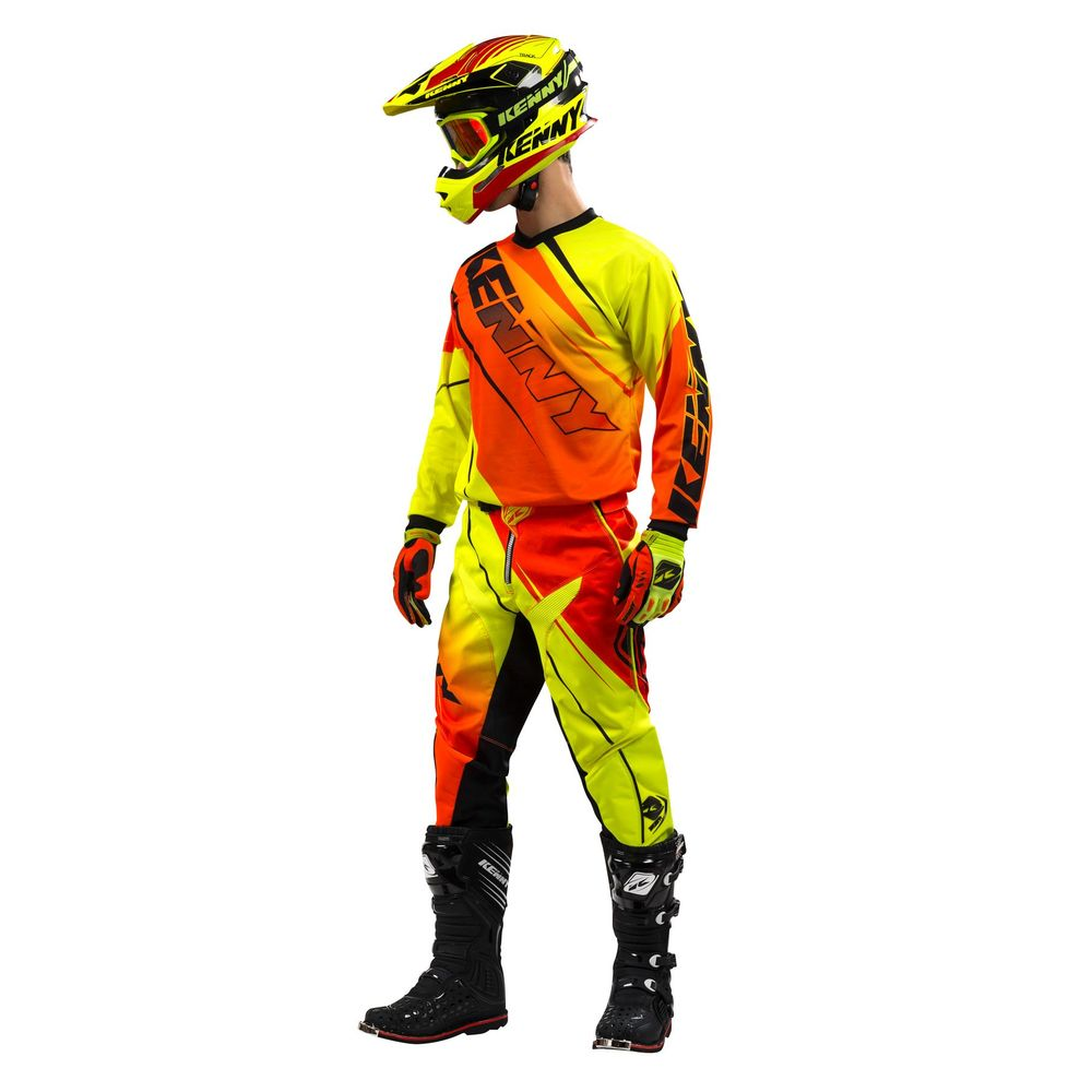 tenue moto enfant kenny track jaune orange neon 2016 equipement kenny racing 2016. Black Bedroom Furniture Sets. Home Design Ideas