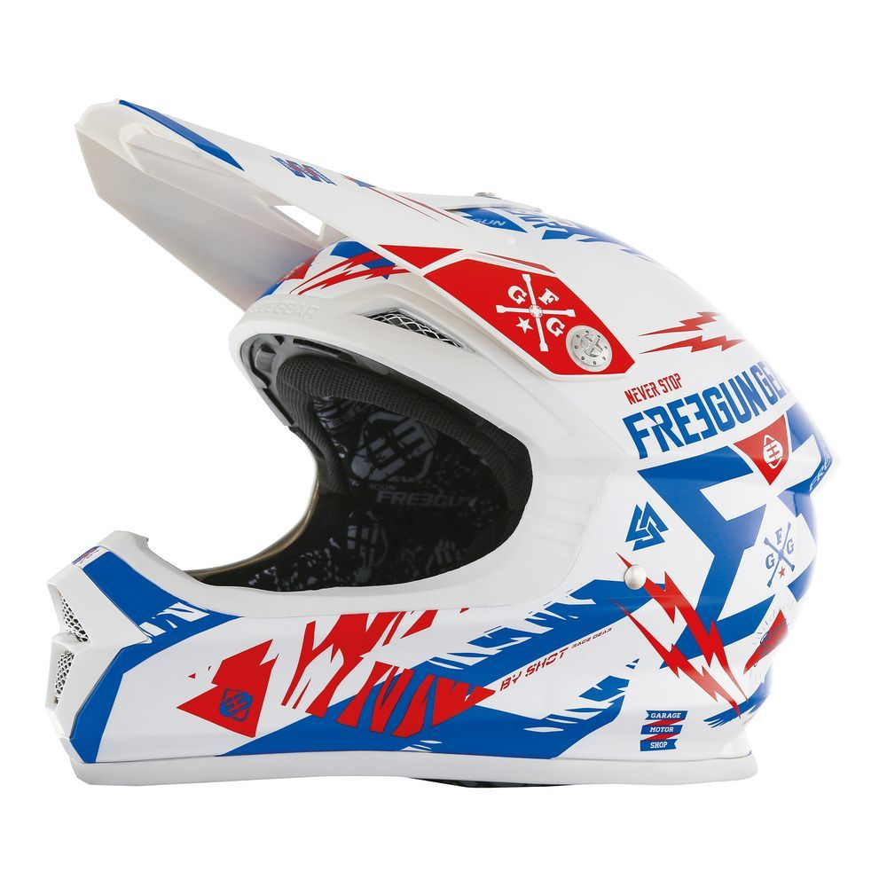 casque motocross freegun xp4 trooper bleu rouge 2017. Black Bedroom Furniture Sets. Home Design Ideas